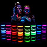 Midnight Glo Black Light Face and Body Paint (Set of 8 Bottles 0.75 oz. Each) - Neon Fluorescent Paint Safe On Skin, Washable
