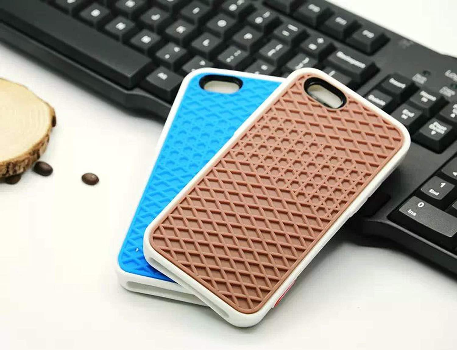 Waffle case Rubber Cover Case for iPhone 11 Pro Max 5S 6 6S 7 8 Plus Xs Max Xr Shoe Sole Phone Case Back Cover-Brown Black-for I11 Pro Max