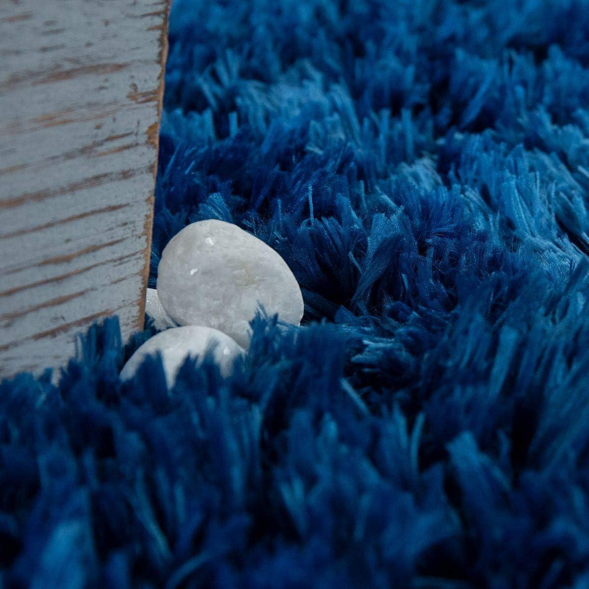 40x55 cm TT Home Tappeto Bagno a Pelo Lungo Moderno Morbido Tinta Unita Blu