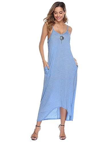 21308a3ecb33a Sykooria Femmes Chemise de Nuit Coton Robe à Bretelles Longue Eté Couleur  Unie à col en v: Amazon.fr: Vêtements et accessoires
