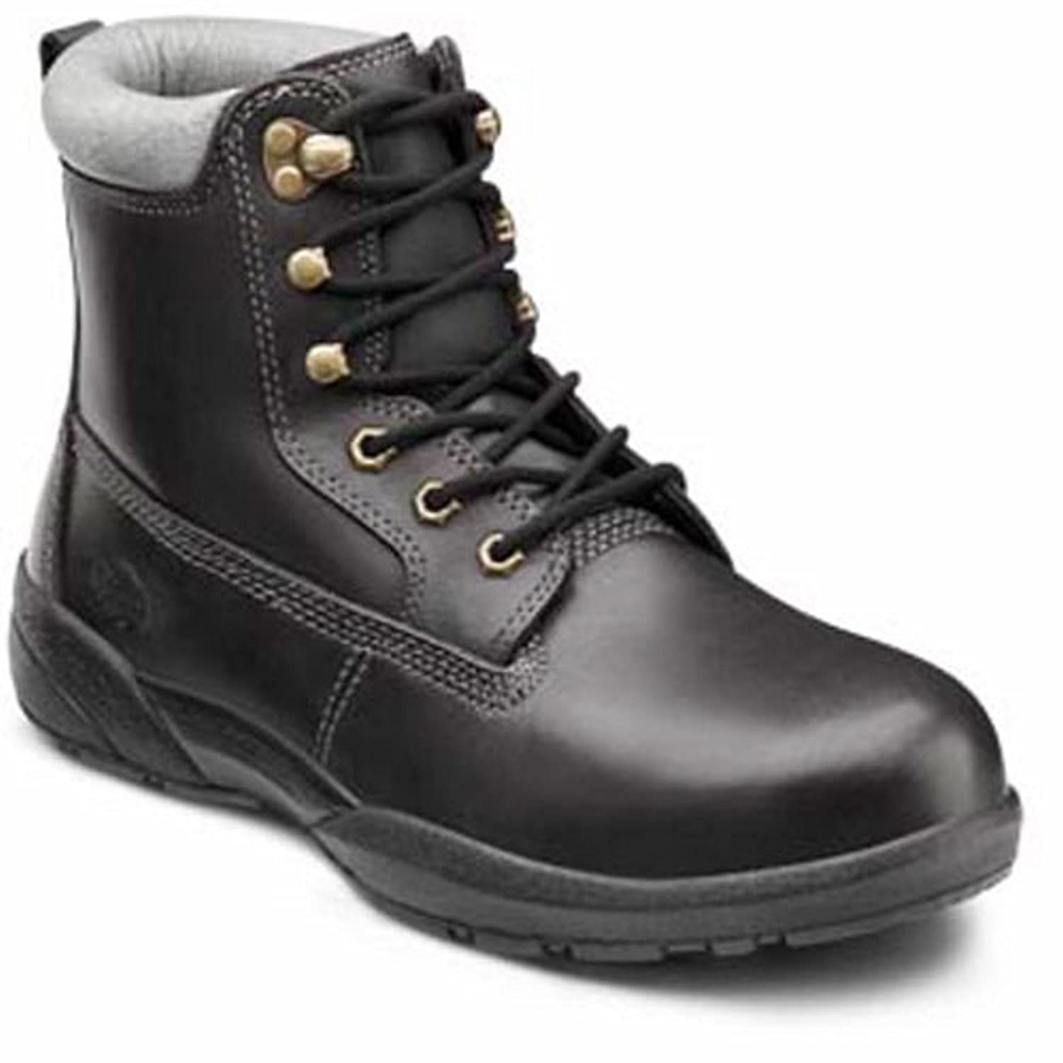Dr. Comfort Men's Protector Black Steel Toe Diabetic Boots 11.5 Wide (E/2E) Black Lace US Men|Black