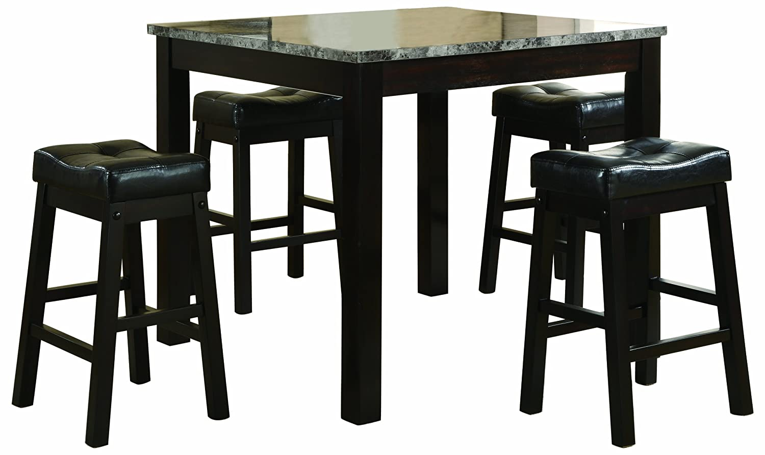 Amazon Com Coaster 5 Piece Dining Set Faux Marble Table Top With