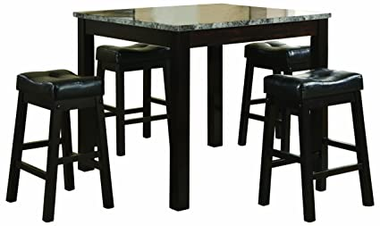 Coaster 5 Piece Dining Set, Faux Marble Table Top With 4 Barstools,  Cappuccino
