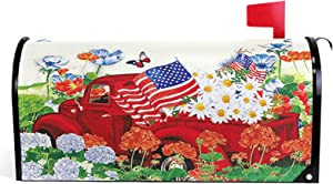 Pfrewn Spring Flowers Truck Butterfly Mailbox Cover Magnetic Standard Size Sunflowers Daisy American Flag Letter Post Box Cover Wrap Decoration Welcome Home Garden Outdoor 21