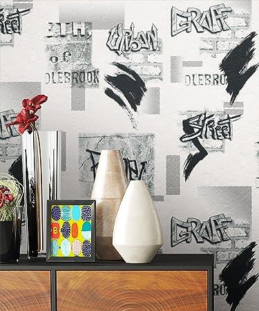 Charmant Tapete Graffiti Weiß Schwarz Style | Schöne Edle Tapete Im Natürlichen  Design | Moderne 3D Optik