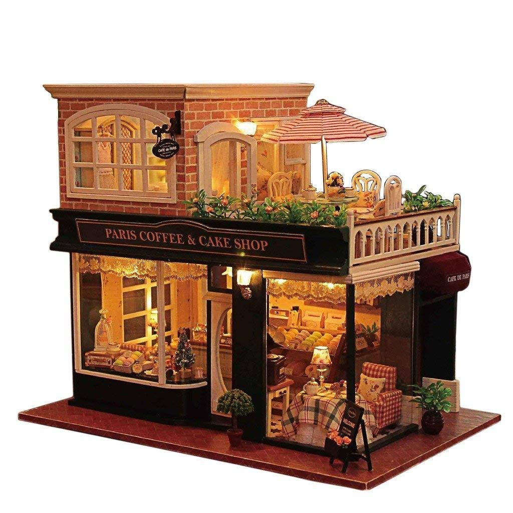 Rylai 3D Puzzles Wooden Handmade Miniature Dollhouse DIY Kit w/ Light - Romantic Cafe Series Dollhouses Accessories Dolls Houses with Furniture & LED & Music Box Best Xmas Gift for Women and Girls
