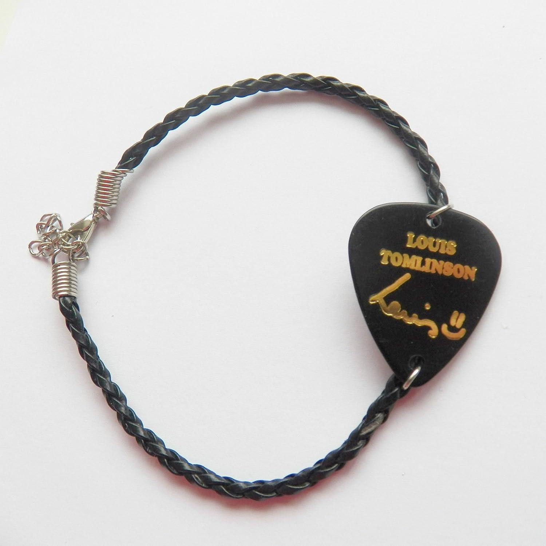 One Direction 1d LOUIS púa de guitarra púa negro pulsera de piel ...