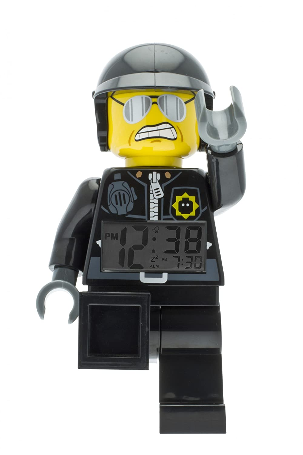 LEGO Movie Bad Cop Kids Minifigure Light Up Alarm Clock plastic boy girl black//gray official 9009952 9.5 inches tall LCD display