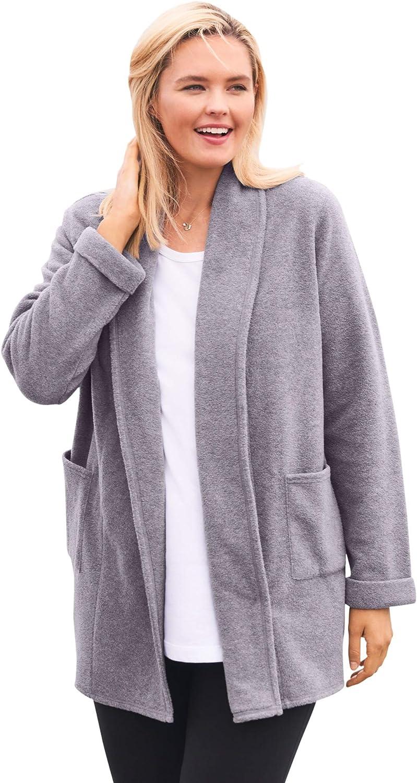 Woman Within Women's Plus Size Microfleece Cardigan