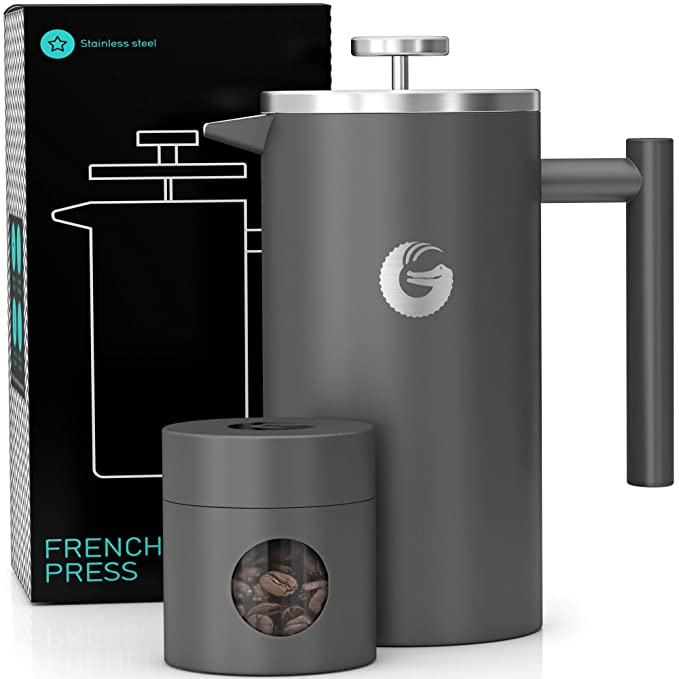 Coffee Gator French Press Coffee Maker - Less Sediment, Hotter-for-Longer Thermal Brewer - Plus Travel Jar - Large Capacity, Double-Wall Insulated Stainless Steel - 34 Ounce - Gray best french presses