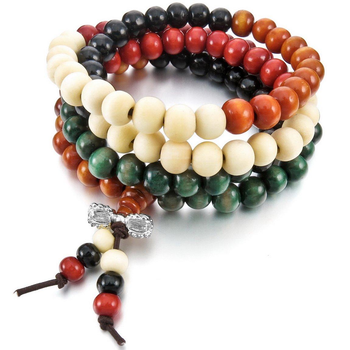 INBLUE Women, Men's 8mm Wood Bracelet Link Wrist Necklace Chain Tibetan Buddhist Colorful Multicolor Sandalwood Bead Prayer Buddha Mala Elastic INBLUE Jewelry mnb1053