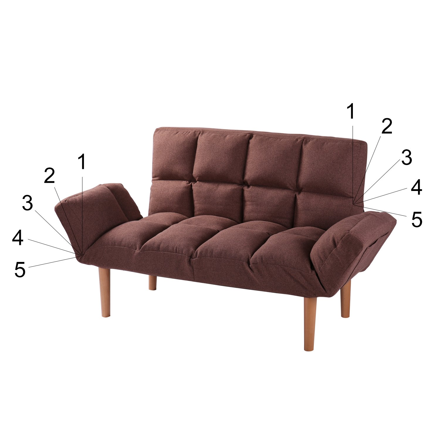 Convertible Loveseat Folding Couch Modern Small Foldable Futon ...