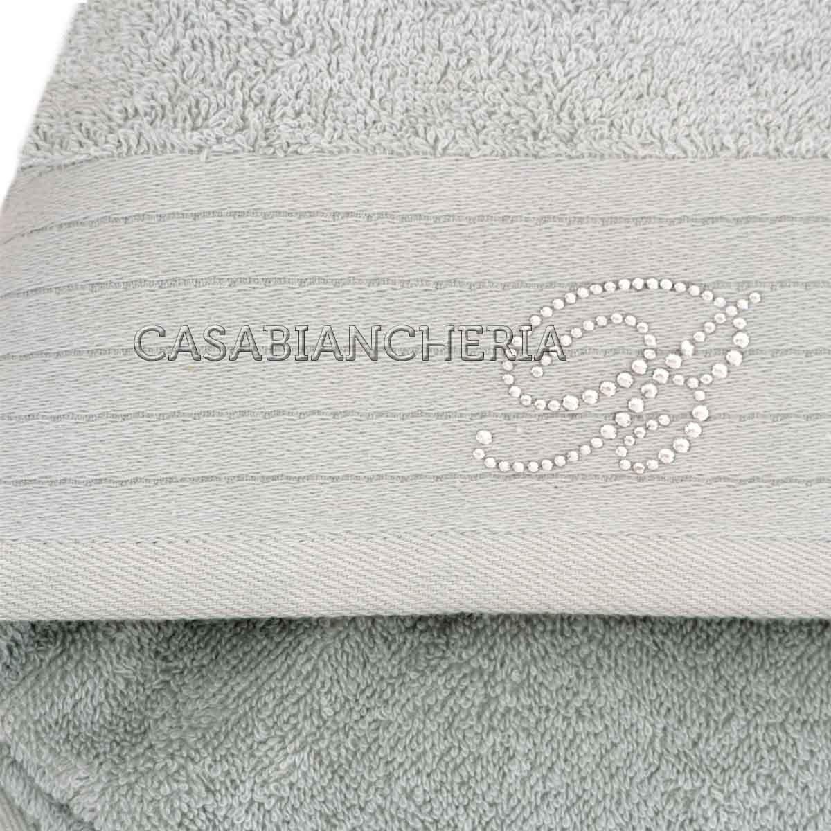 Coppia asciugamani di spugna blumarine crociera-Bianco