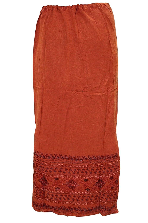 854c3f2811 Mogul Interior Womens Maxi Skirt Embroidered Rust Orange Rayon Sexy Boho  Flirty Long Skirts: Amazon.co.uk: Clothing