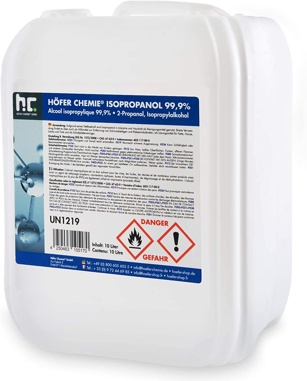 10 L Isopropanol 99 9 Ipa Von Höfer Chemie Frisch Abgefüllt Im Handlichen 10 L Kanister Perfekt Als Lösungsmittel Und Fettlöser Geeignet Drogerie Körperpflege