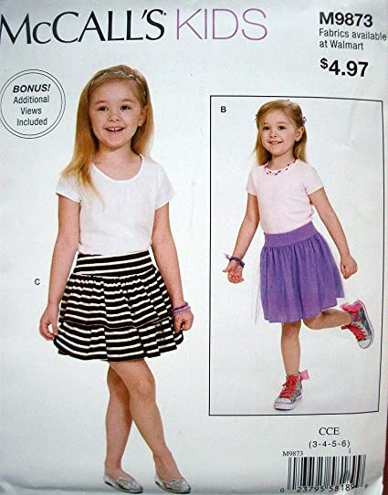 Amazon Com Mccalls Kids Pattern 9873 Girls Skirt With Variations