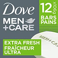 Dove Men+Care Body and Face Bar for Refreshed Skin Extra Fresh ¼ Moisturizing Cream 106 g Pack of 12