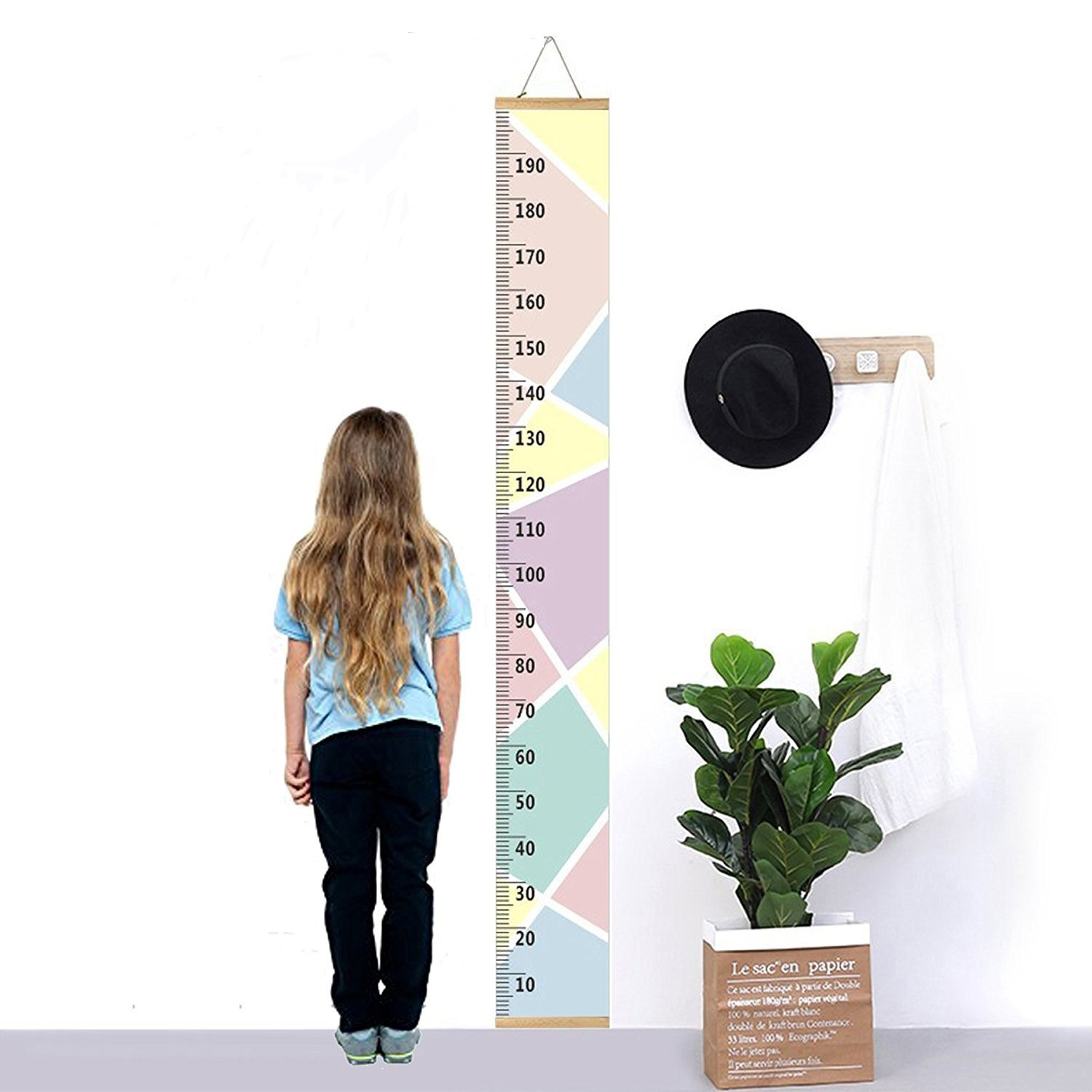 Kid Growth Chart - Portable Hanging Ruller Wall Decor for Children,Roll Up Wood Frame Fabric Height Growth Chart,79'' x7.9''- Colorful Style