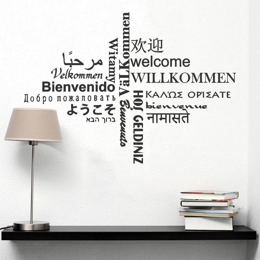 decalmile Multilingue Bienvenue Lettre Noir Stickers Muraux Amovible Vinyle Stickers Muraux pour Salon Entr/ée Bedroom Stairway