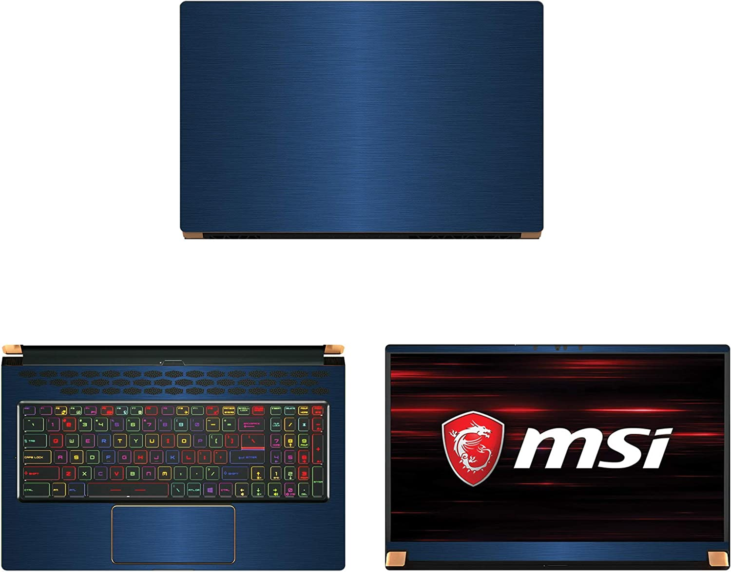"Decalrus - Protective Decal for MSI GS75 Stealth (17.3"" Screen) Laptop Blue Texture Brushed Aluminum Skin case Cover wrap BAmsiGS75_17Blue"