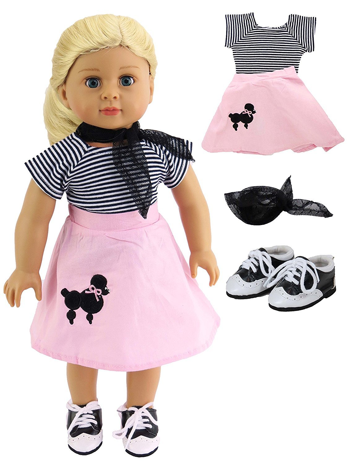 Classic Poodle Skirt Outfit   Includes Shirt,Shoes,Skirt,& Scarf  Fits 18'' American Girl Dolls, Madame Alexander, Our Generation, etc.   18 Inch Doll Clothes