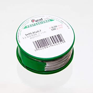 Lötzinn 1,5 mm 100 g Sn99,3Cu0,7 Zinn mit Flussmittel Lötdraht Lot Röhrenlot