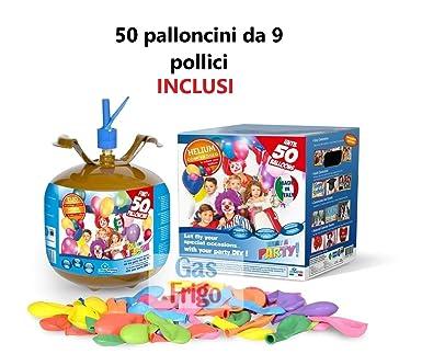 Bombona de helio desechable, 50 globos multicolor incluidos
