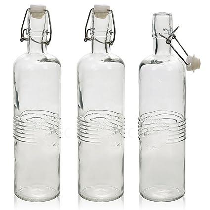 URBNLIVING 3 Botellas de Cristal de 0,75 l de Moda