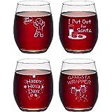 Set of 4 Christmas Puns Stemless Wine Glasses Set, Christmas Themed Gift Idea for Women Men Friend Party White Elephant…