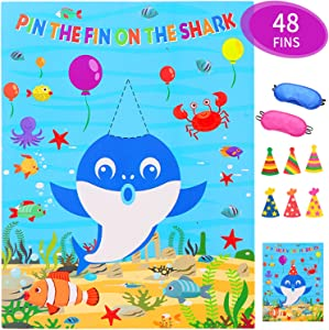 Pin The Fin On The Shark Game for Birthday Party Baby Shower Supplies Favors Decorations - 48 Fins