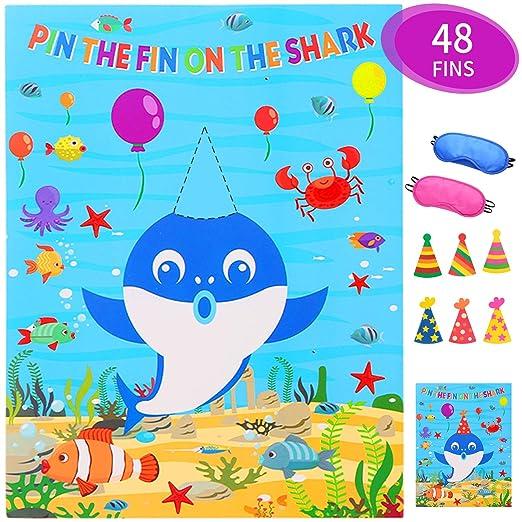 Pin The Fin On The Shark Juego para fiesta de cumpleaños ...