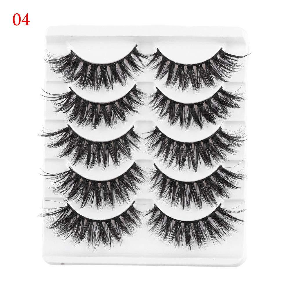 3D Faux Mink Hair False Eyelashes Wispies Long Cross Lashes 5 Pairs Handmade Eye Makeup Tools (# 04)