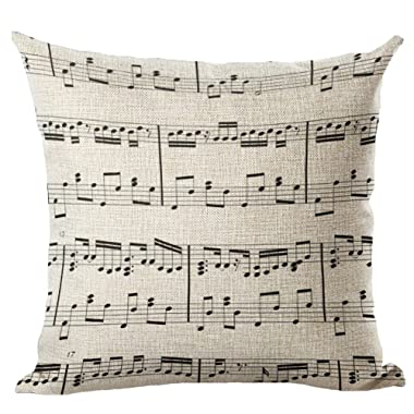 LivebyCare Music Printed Stuffed Cushion Linen Cotton Cover Filling Stuffing Throw Pillow Insert Filler Pattern Zipper for Dinning Room Kitchen Chair Back Seat
