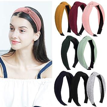 Amazon.com   Ondder 8 Pack Wide Fashion Headbands Knot Turban Headband  Elastic Hairbands Hair Accessories for Women 8e913e7e009