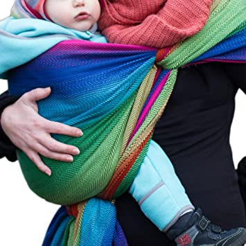 e276d85133e Amazon.com   DIDYMOS Woven Wrap Baby Carrier Lisca Herringbone Rainbow (Organic  Cotton)