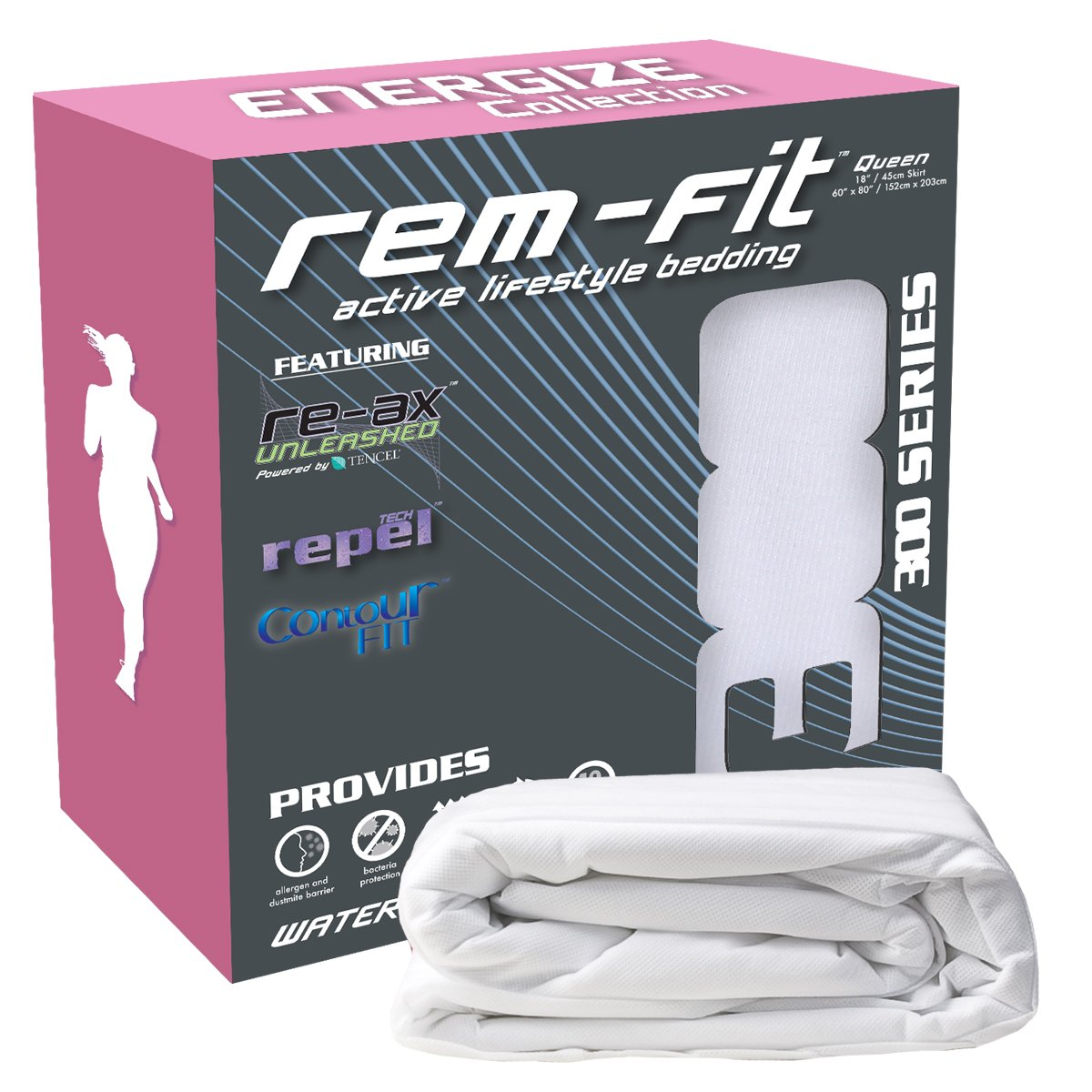 REM-Fit Energize Collection 300 Series Waterproof Fitted Sheet (Queen)