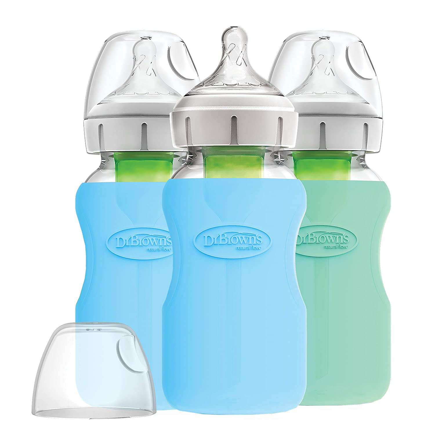 Dr. Brown's Options+ Glass Wide-Neck Bottle with Silicone Sleeve, 9oz, Blue/Mint, 3Count, Blue