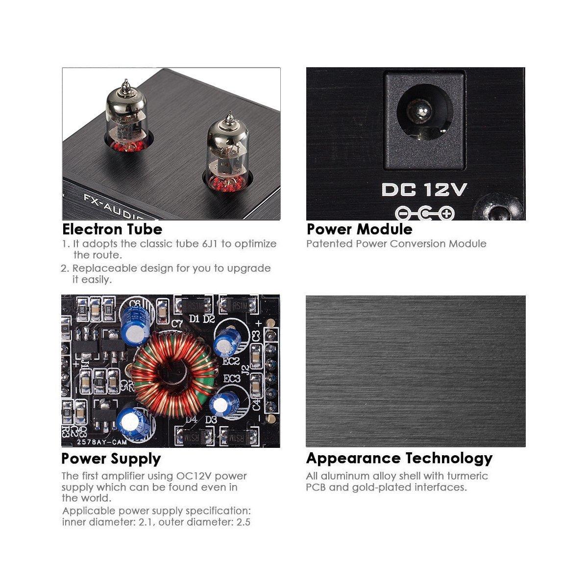 FEIXIANG 6J1-Black Mini 6J1 - Válvula y tubo de vacío pre ...