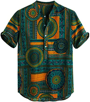 DFHYAR Mens Funny Casual Short Sleeve Button Down Graphic Hawaii Shirt
