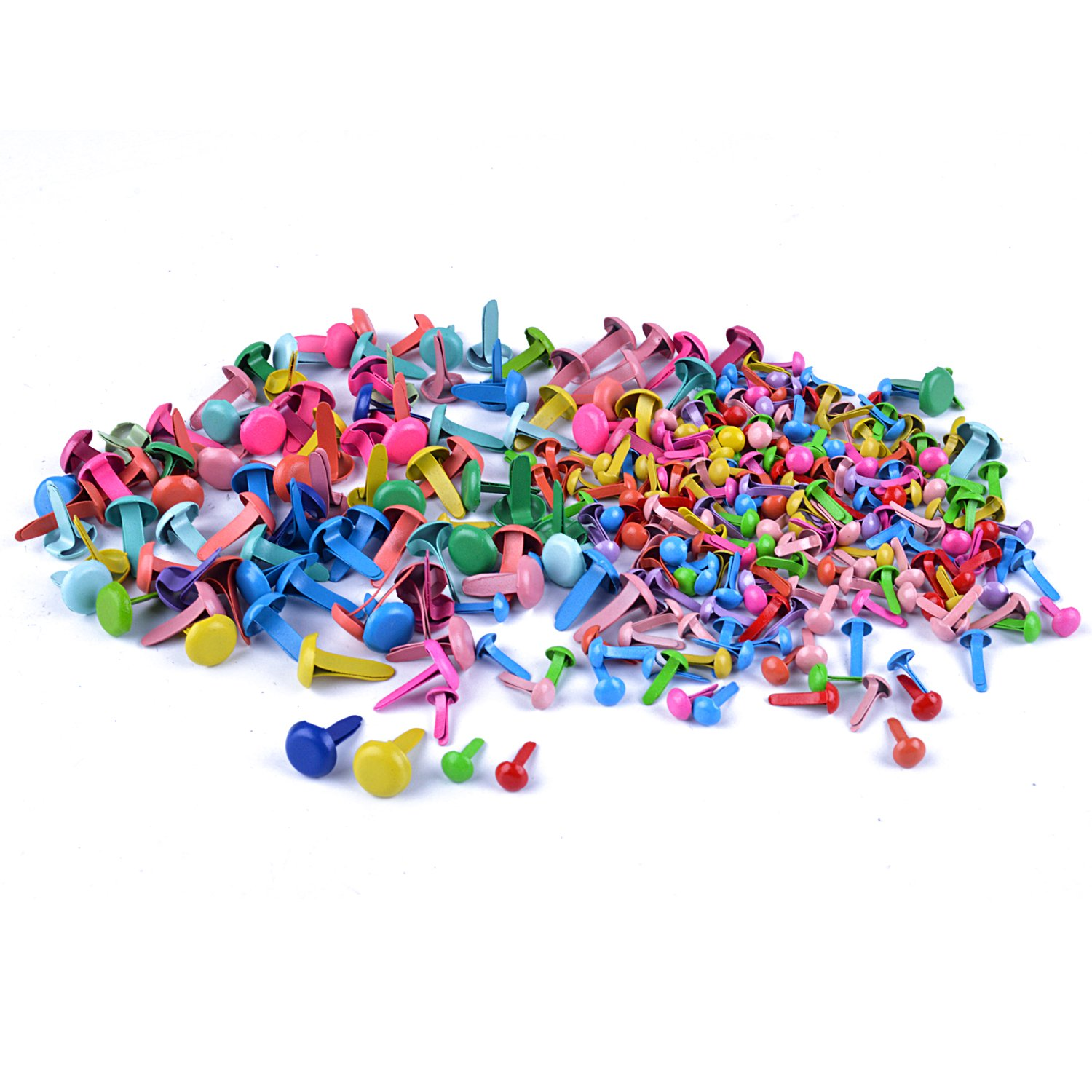 euhuton 300 Pieces Mini Brads 5mm,8mm Round Scrapbooking Craft Iron Brads Multicolor Paper Fastener Color Random