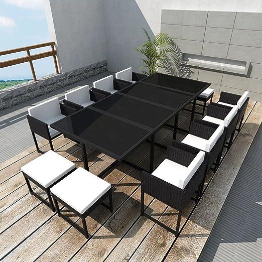 Furnituredeals mesa y sillas plegables para exterior Conjunto de comedor de exterior 33 piezas negro poli ratan conjunto de mesa y sillas plegables: Amazon.es: Jardín