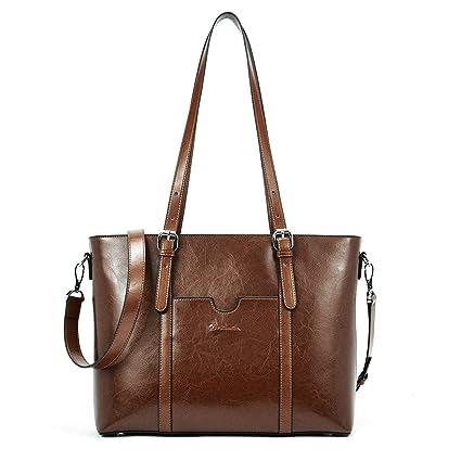 4bc4f410e93f BOSTANTEN Women Leather Laptop Shoulder Handbag Vintage Briefcase 15.6