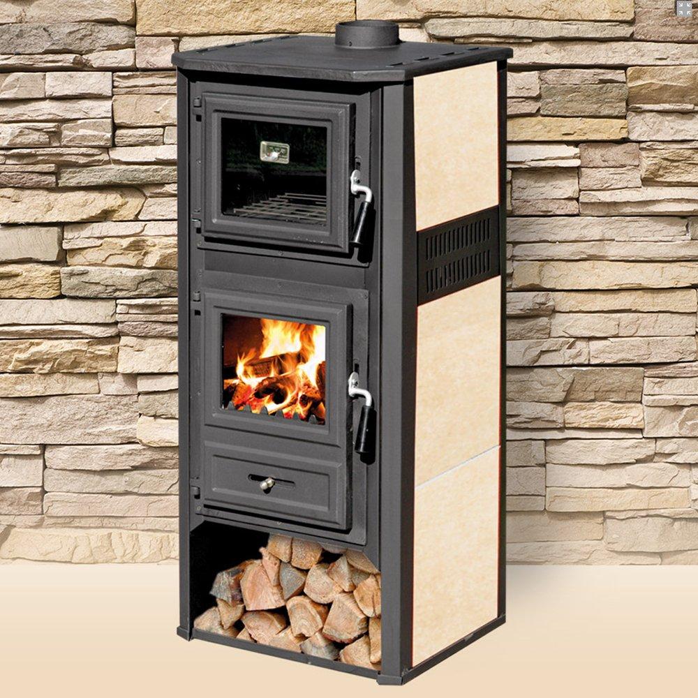 Poêle à bois, 10kW, en acier et fonte, avec four, chauffage d'intérieur - design et pas cher modèle hiver 2018/2019