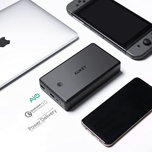 AUKEY USB C 30000mAh Power Bank, Portable Charger with 30W Power Delivery, Quick Charge 3.0 Battery Pack for Nintendo Switch, Phones, Tablets and More