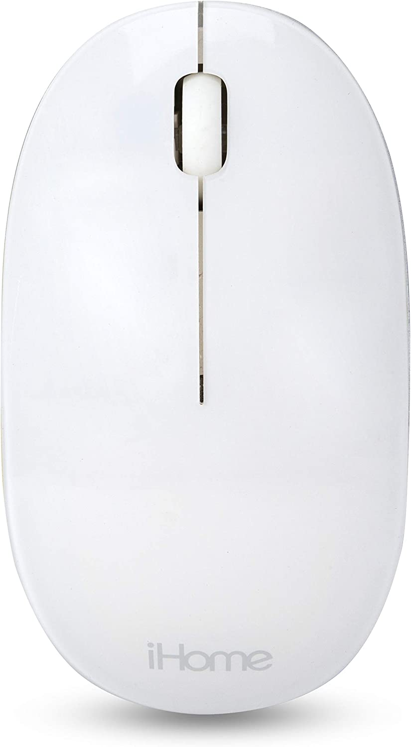 iHome Bluetooth Mac Mouse with Scroll Wheel, 3-Buttons, 1600 DPI, Laptops and Computers, Slim and Compact, Right or Left Hand Use, White