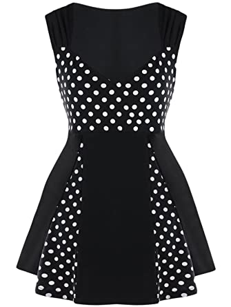 d10b6e3c829 ANDYOU-Women Sleeveless Polka Dots Summer Plus-Size Short Dress at Amazon  Women s Clothing store