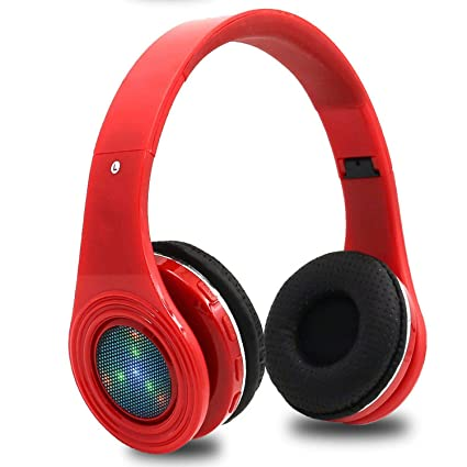 Glowing Bluetooth Earphones Headphones Stereo Bass Headsets Built-in Mic LED TF FM Radio for