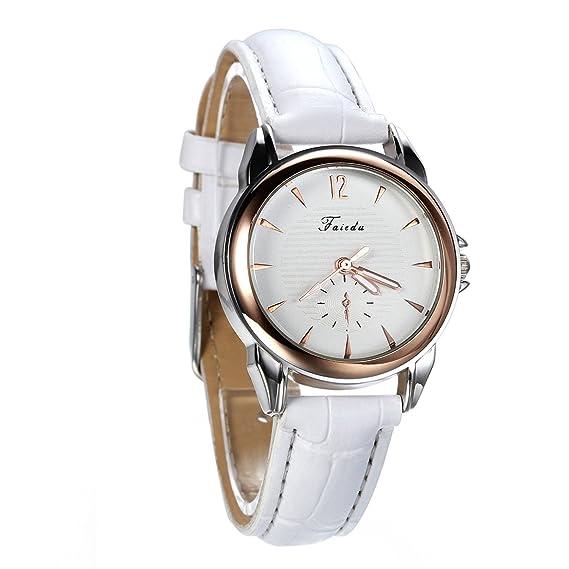 Avaner Blanco Reloj para Mujer Cuarzo Analogico Reloj de Pulsera Pequeño Minimalista, Diseño Elegante Casual Correa de Cuero: Amazon.es: Relojes