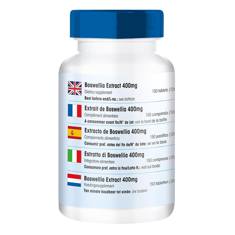 Extracto de Boswellia 400mg, estandarizado a 65% de ácidos boswélicos, vegano, 150 tabletas: Amazon.es: Salud y cuidado personal