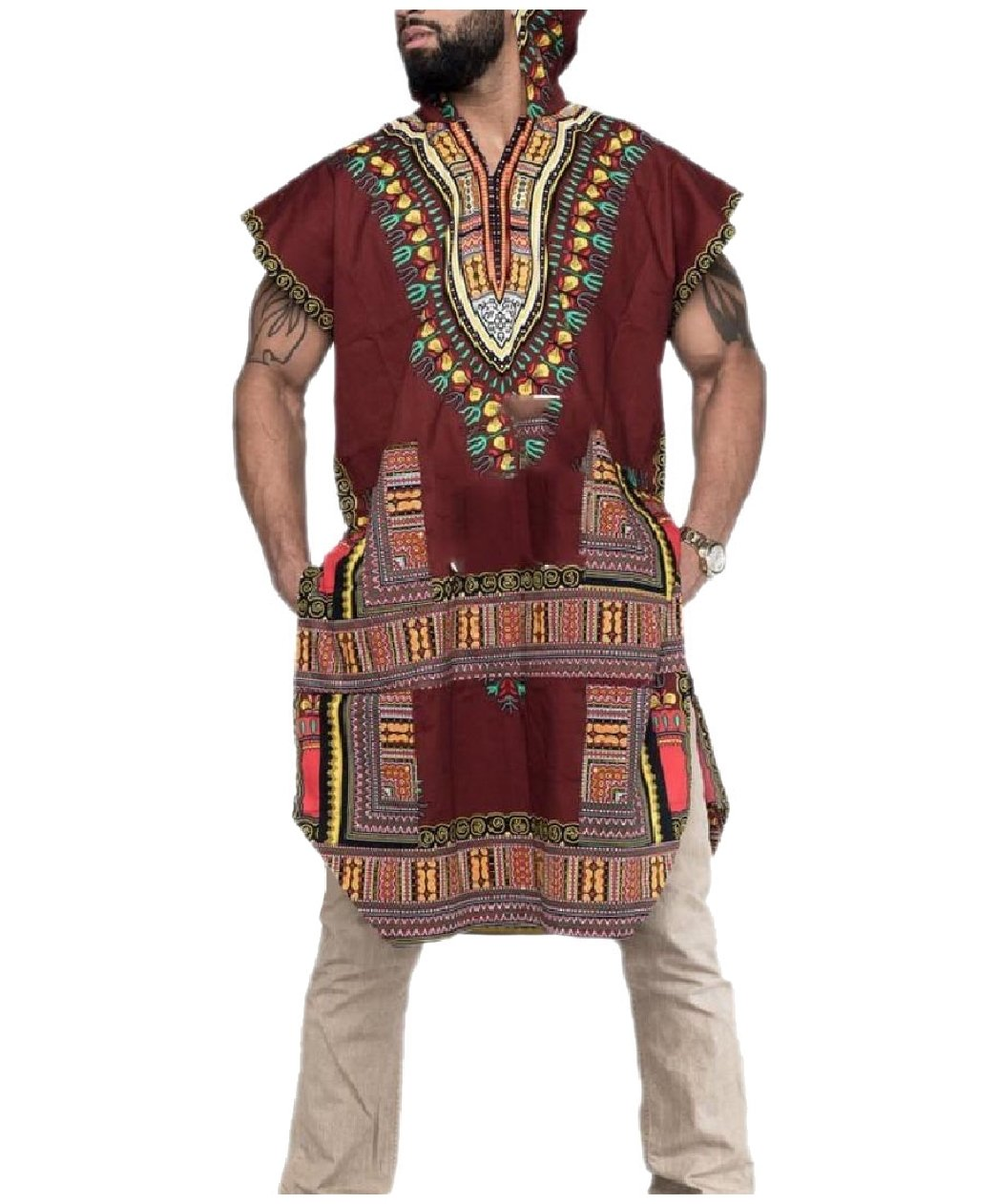 Zimaes Mens African Printed with Hood Split Dashiki Fashion Tees Top Wine Red 2XL